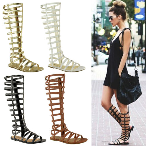 LADIES WOMENS CUT OUT GLADIATOR SANDALS FLAT KNEE BOOTS STRAPPY SIZE