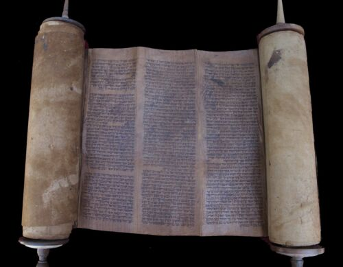 ANCIENT COMPLETE TORAH BIBLE MANUSCRIPT SCROLL DEER PARCHMENT 450 YRS MOROCCO