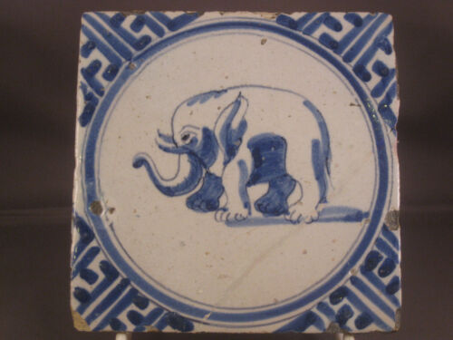 Antique Dutch Delft Tile African / Indian Elephant 17th century -- free shipping