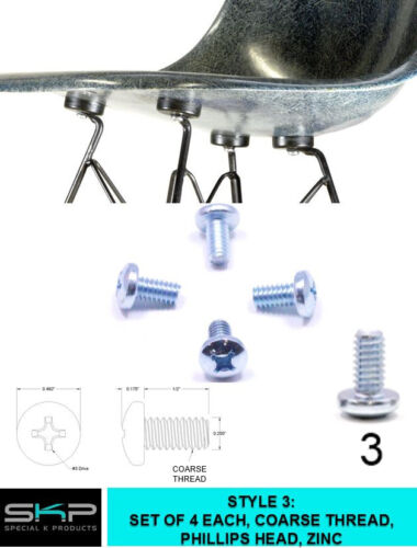 SCREWS FOR EAMES HERMAN MILLER SHELL CHAIR SHOCK MOUNT X4  COARSE THREAD PARTS