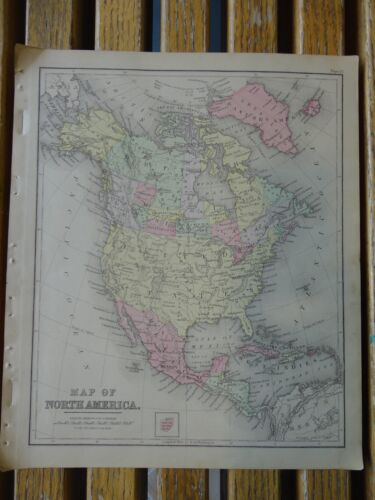 Nice colored map of North America.  Warrens 1884 pub. by Cowperthwait & Co.