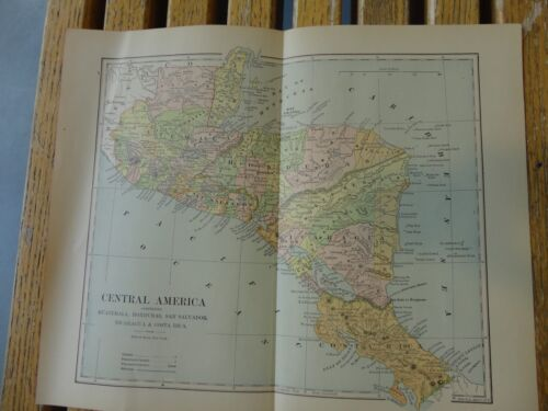 Nice colored map of Central America.  Pub. in 1895 in The People's Cyclopedia.
