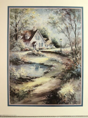 COUNTRY COTTAGE HOUSE PICTURE SWANS POND ART PRINT 16X20