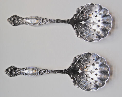 FRONTENAC - International, ANTIQUE STERLING BON BON SPOONS  (pair)        (4D33)
