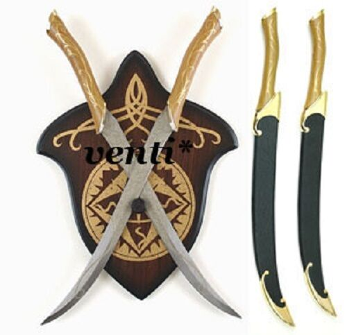LEGOLAS FIGHTING KNIVES WITH RIGID SCABBARDS AND WALL PLAQUE