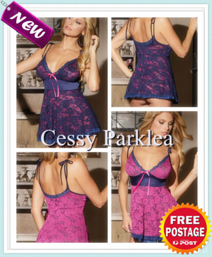 Bridal Double Layer Pretty Babe Lace Babydoll Camisole Hot Pink Navy Blue