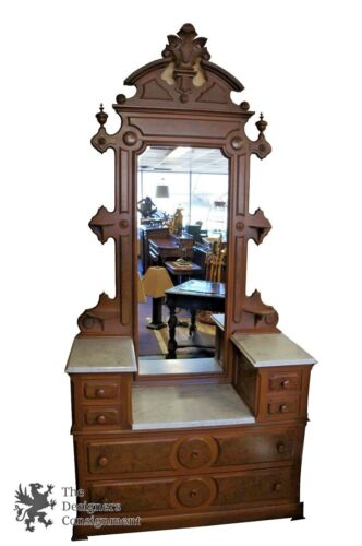 Antique Washstand 2 Tier Marble Top Eastlake Washstand W/ Mirror Dresser Walnut