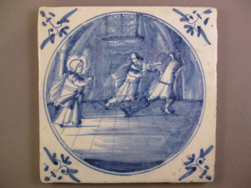 Antique biblical Dutch Delft tile 18th-century -- free shipping Nr.20