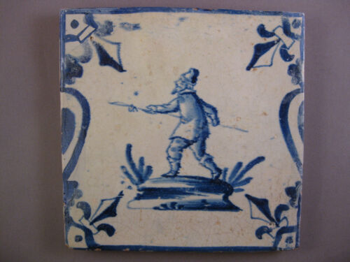 """Antique Dutch tile """"man with spear"""" rare tiles 17th-c -- free shipping"""