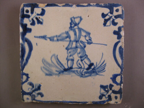 """Antique Dutch Delft tile """"human with spear """" rare tiles 17th-c -- free shipping"""