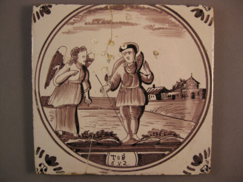 Antique Dutch biblical tileTobias and the Angel on the way - free shipping