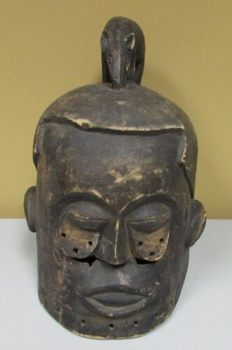Old African Carved Congo River Helmet Mask with Rat or Aardvark