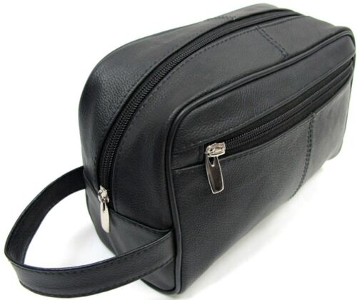 Quality Genuine Leather Men's Shaving, Toiletry and Travel Bag, 3 Zipper - Black