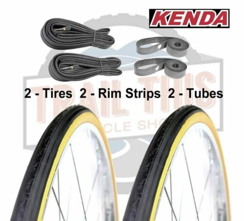 """Kenda Gumwall 27"""" x 1-1/4"""" Road Bicycle Tires Set Wire Bead Tires 90PSI <br/> 2 Tires + 2 Schrader Valve Tubes + 2 Rubber Rim Strips"""