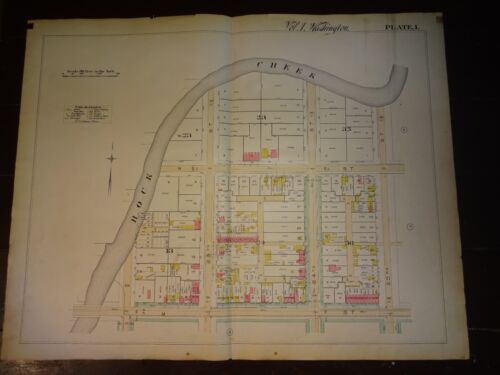1892 Map of NW DC - Rock Creek to M & 23rd. Rare large property specific detail.
