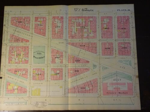 1892 Map of NW DC-Penn Qtr -B to E Streets - Rare large property specific detail