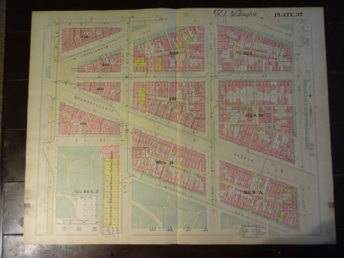 1892 Map of NW DC-  Smithsonian Area - Rare large property specific detail