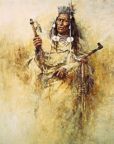 """Howard Terpning """"Crow Pipe Holder"""" limited edition print"""