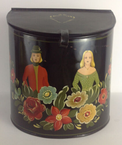 Toleware Tea Caddy Handpainted Vintage Folk Art Tin Ware Dutch Man & Woman