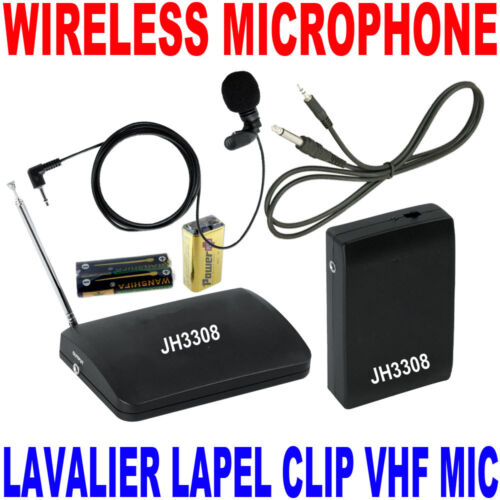 VHF Stage Wireless Lavalier Lapel Microphone System Mic FM Transmitter Receiver