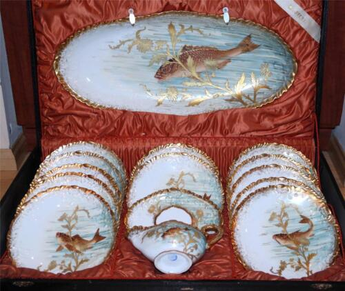 Antique Rare French Limoges Hand Painted Raised Gold Porcelain Fish Set w/Box