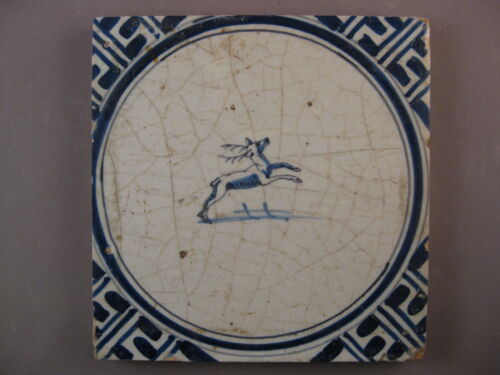 Antique Dutch Delft Tile deer in a circle framing rare 17th -- free shipping