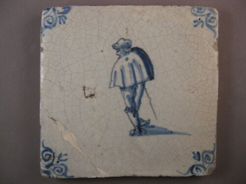 Antique Dutch Delft Tile man with walking cane rare 17th century - free shipping
