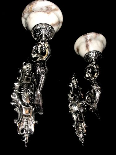 Art Deco SILVERED PAIR OF BRONZE & ALABASTER WALL SCONCES w/ MERMAID SCULPTURES