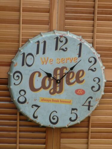 Vintage style metal bottle cap design COFFEE wall clock primitive retro home