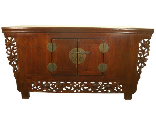 A Chinese Beautiful Elm Wood Carved Altar Coffee TV Table