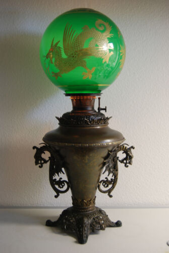 ANTIQUE KEROSENE OIL GWTW B&H CHINESE DRAGON EMERALD GREEN VICTORIAN PARLOR LAMP