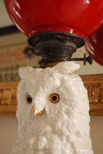 ANTIQUE DRESDEN GERMAN PORCELAIN OWL PARLOR VICTORIAN KEROSENE OIL OLD GWTW LAMP
