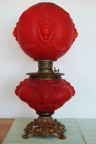 GONE WITH THE WIND GWTW OIL KEROSENE GLASS ANTIQUE LION BANQUET PARLOR OLD LAMP