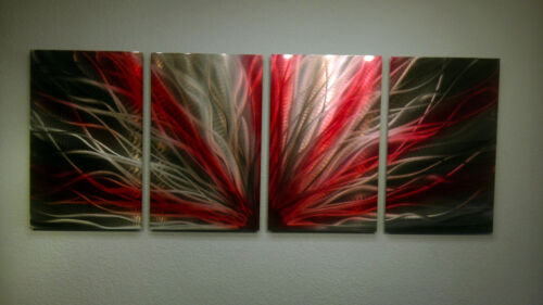 Abstract Metal Wall Art- Contemporary Modern Decor Original- Radiance Red