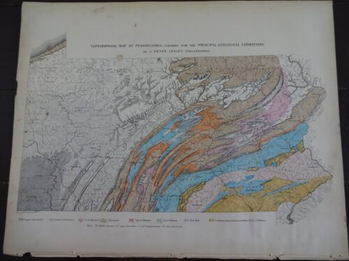 1872 Hand-Colored Topographical map of Pennsylvania/Geological Formations