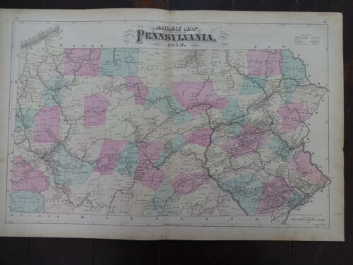 1872 Hand-Colored Antique Railway Map of the State of Pennsylvania
