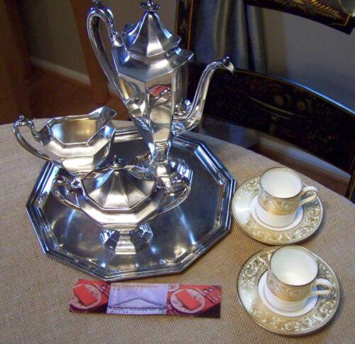 "REED & BARTON ""SIERRA"" NEO CLASSICAL DEMITASSE SIZED COFFEE TEA SERVICE POT SET"