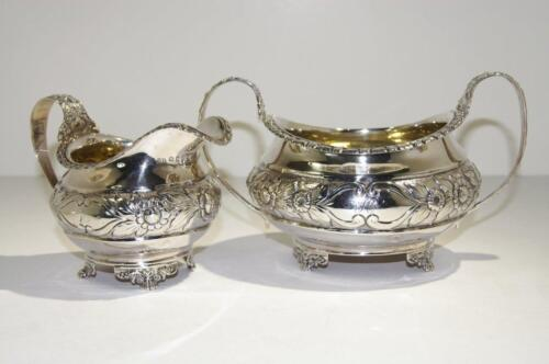 George III Sterling Gilt Silver Repousse Creamer & Sugar Bowl London circa 1821