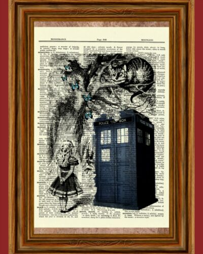 Alice in Wonderland & Tardis Booth Dictionary Art Print Picture Butterflies Gift