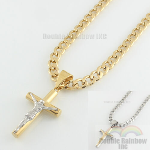 Mens stainless steel Gold Silver cuban jesus cross pendant necklace chain Link 9