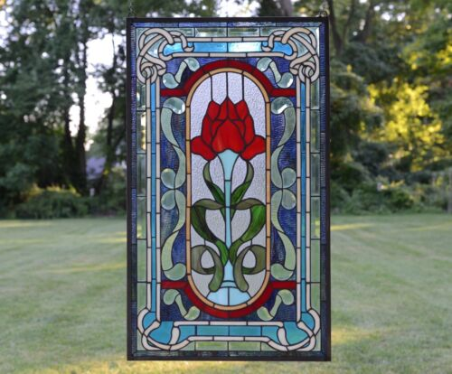 """20"""" x 34"""" Lg Home Decor Handcrafted stained glass window panel Big Rose flower"""