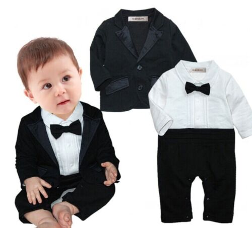 StylesILove Baby Boys Tuxedo Wedding Romper and Jacket 2-pc Formal Wear Suit