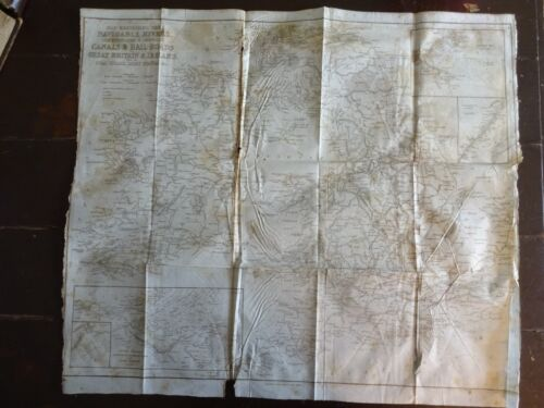 1843 Map of the Navigable Rivers, Canals & Railroads of Great Britain & Ireland