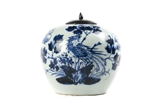 Celedon Blue & White Ginger Jar Pheonix MING LONGQING dynasty Porcelain China