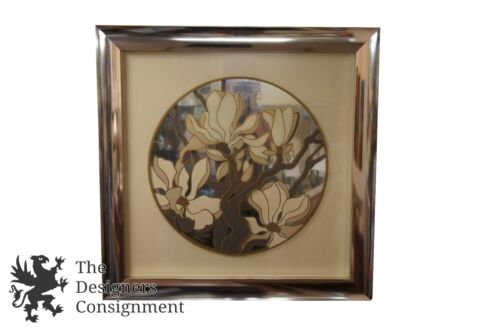 """Mid Century Modern 3D Mirrored Tree Blossoms Signed Artwork Gold & White 36"""""""