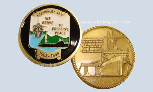 US NAVY USS HUNLEY AS-31 Challenge Coin with Presentation Box