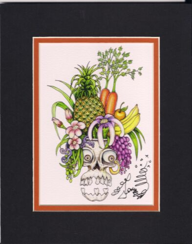 SKULL WITH FRUIT, new orleans artist Jamie Hayes, SIGNED, PINEAPPLE, CARROTS