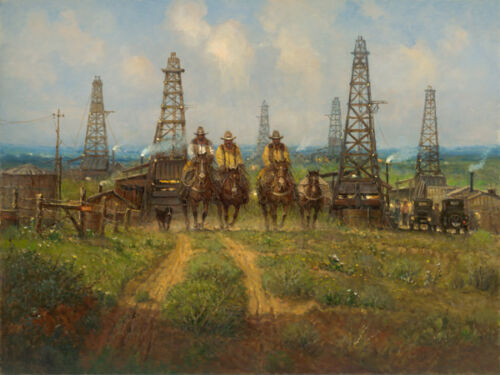 G. Harvey HISTORY IN THE MAKING 30x40 A/P Canvas Giclee Oil Texas Cowboys $1750