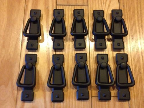 Lot Of (10) Flat Black Trunk Cabinet Chest Handle Pulls Cast Iron Style Mission