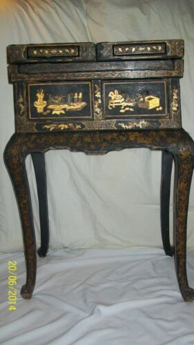 *ANTIQUE 17th 18th? JAPANNED ~ASIAN DRESSING TABLE- unfolds, w/ mirror -GORGEOUS